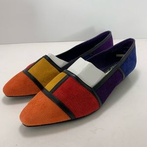 Vintage Colorblock Pointed Toe Suede Flats